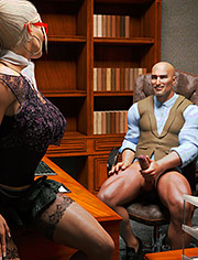 Secretary doing his job one hundred percent / Visiting Boyfriend at work / JonasD / 3D CGI