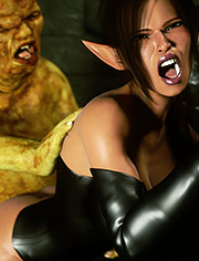 Scary mutant bang his crooked huge cock / Elf Domina and Mutant / Zuleyka / 3D CGI