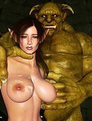Ugly troll sticks his cock deep inside her tight meat / Elf Domina and Troll / Zuleyka / 3D CGI