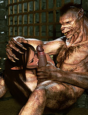 Sexy slave elf licks a werewolf's dick / Elf Domina and Werewolf / Zuleyka / 3D CGI
