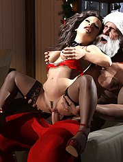 Santa giving a present to a lonely lady / Santa's Favorite / 3DErotic