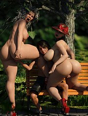 Extreme fun in the park of mature ladies / Sunday In The Park / Karmasou