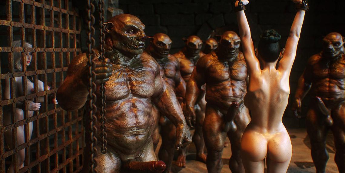 Crowd of monsters with huge dicks - Elf slave 3 Two Elves by Jared999d