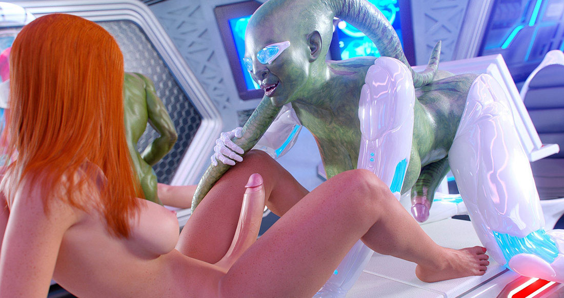 Green-skinned alien gives pleasure - First Contact 4 Experimental pussys by Golden master
