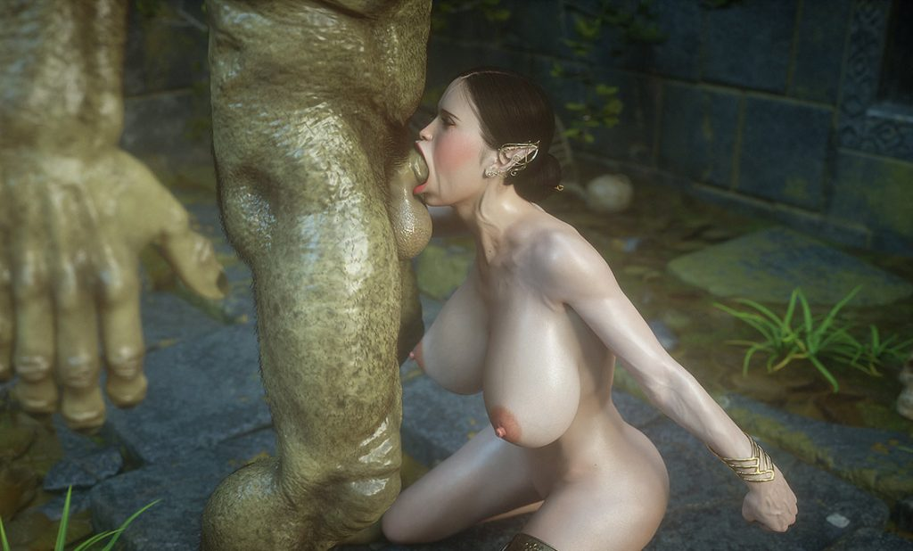 Monster shows his huge dick - Elf slave 7 Double trouble by Jared999d
