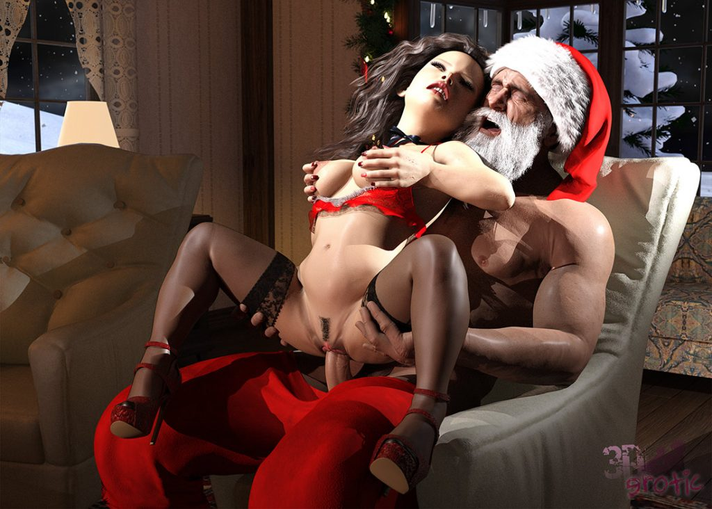 Santa giving a present to a lonely lady - Santa's Favorite by 3DErotic