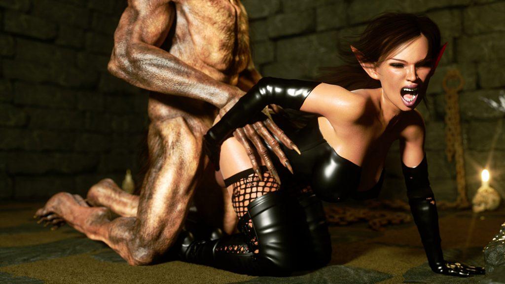 Sexy slave elf licks a werewolf's dick - Elf Domina and Werewolf by Zuleyka