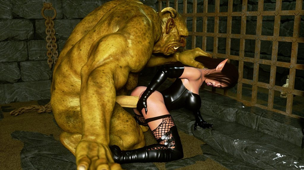 Ugly troll sticks his cock deep inside her tight meat - Elf Domina and Troll by Zuleyka